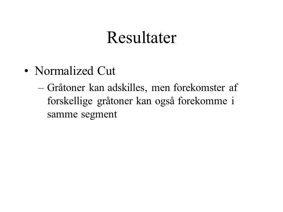 Resultater Normalized Cut –Gråtoner kan adskilles, men forekomster af forskellige gråtoner kan også forekomme i samme segment