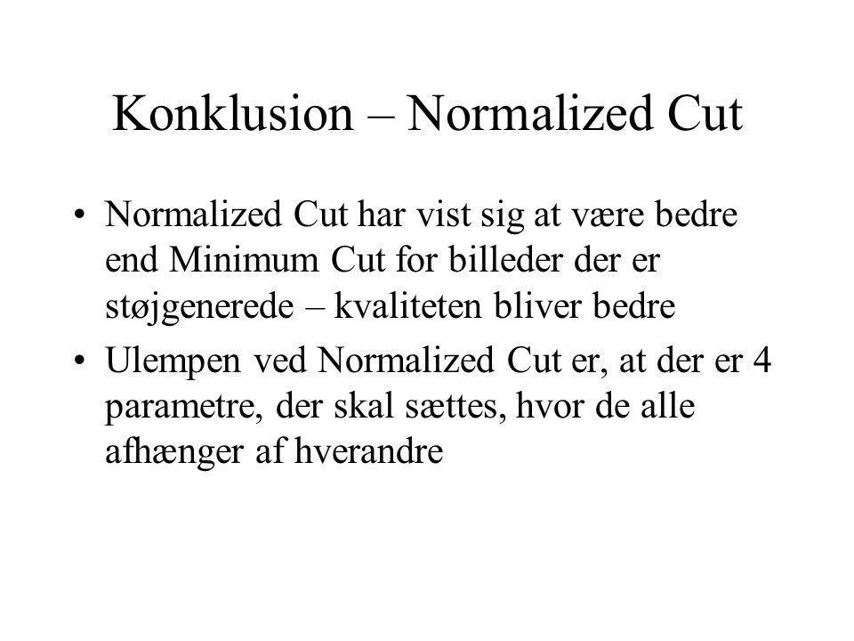 Konklusion – Normalized Cut Normalized Cut har vist sig at være bedre end Minimum Cut for billeder der er støjgenerede – kvaliteten bliver bedre Ulempen ved Normalized Cut er, at der er 4 parametre, der skal sættes, hvor de alle afhænger af hverandre