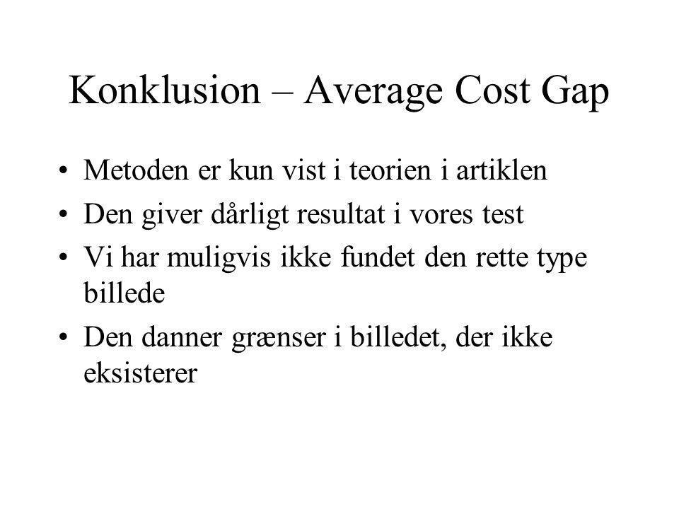 Konklusion – Average Cost Gap Metoden er kun vist i teorien i artiklen Den giver dårligt resultat i vores test Vi har muligvis ikke fundet den rette type billede Den danner grænser i billedet, der ikke eksisterer