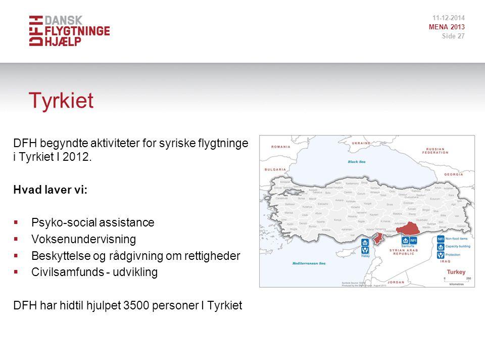 Tyrkiet DFH begyndte aktiviteter for syriske flygtninge i Tyrkiet I 2012.