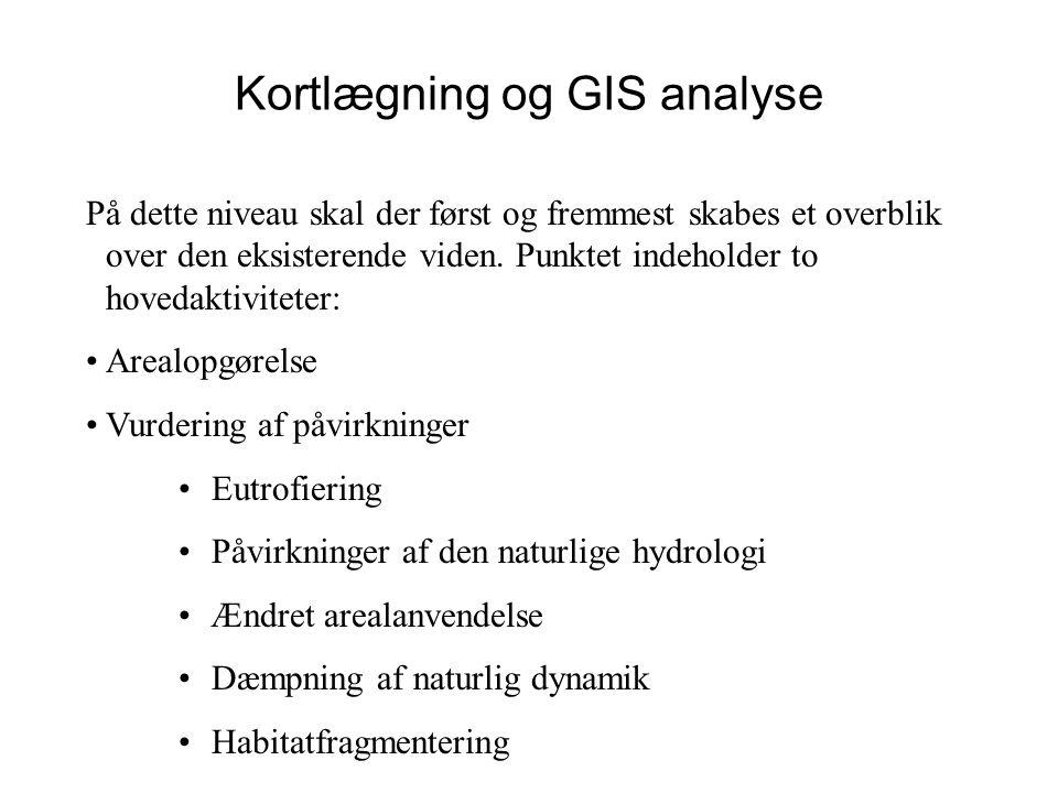 Kortlægning og GIS analyse På dette niveau skal der først og fremmest skabes et overblik over den eksisterende viden.