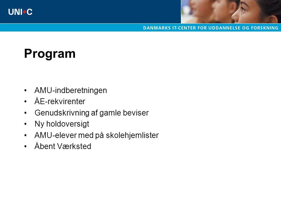 Program AMU-indberetningen ÅE-rekvirenter Genudskrivning af gamle beviser Ny holdoversigt AMU-elever med på skolehjemlister Åbent Værksted