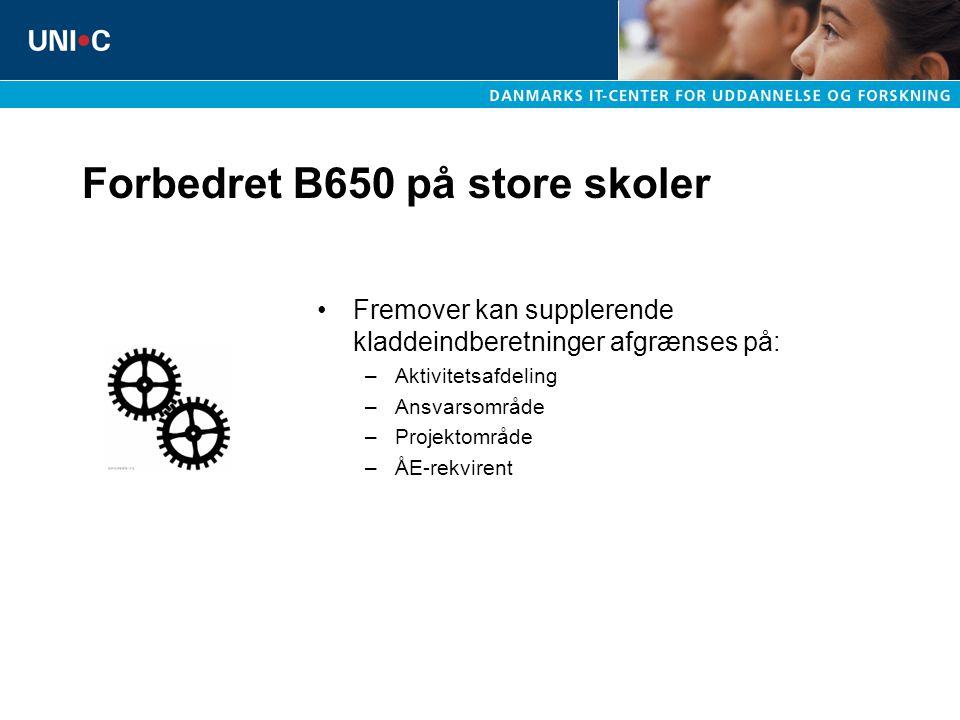 Forbedret B650 på store skoler Fremover kan supplerende kladdeindberetninger afgrænses på: –Aktivitetsafdeling –Ansvarsområde –Projektområde –ÅE-rekvirent