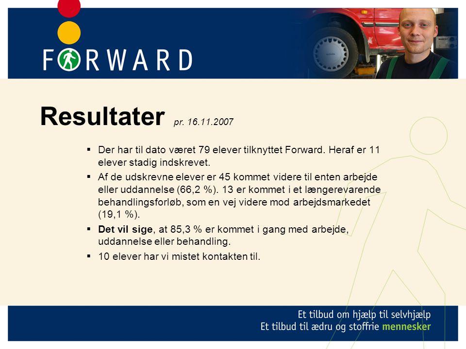 Resultater pr. 16.11.2007  Der har til dato været 79 elever tilknyttet Forward.