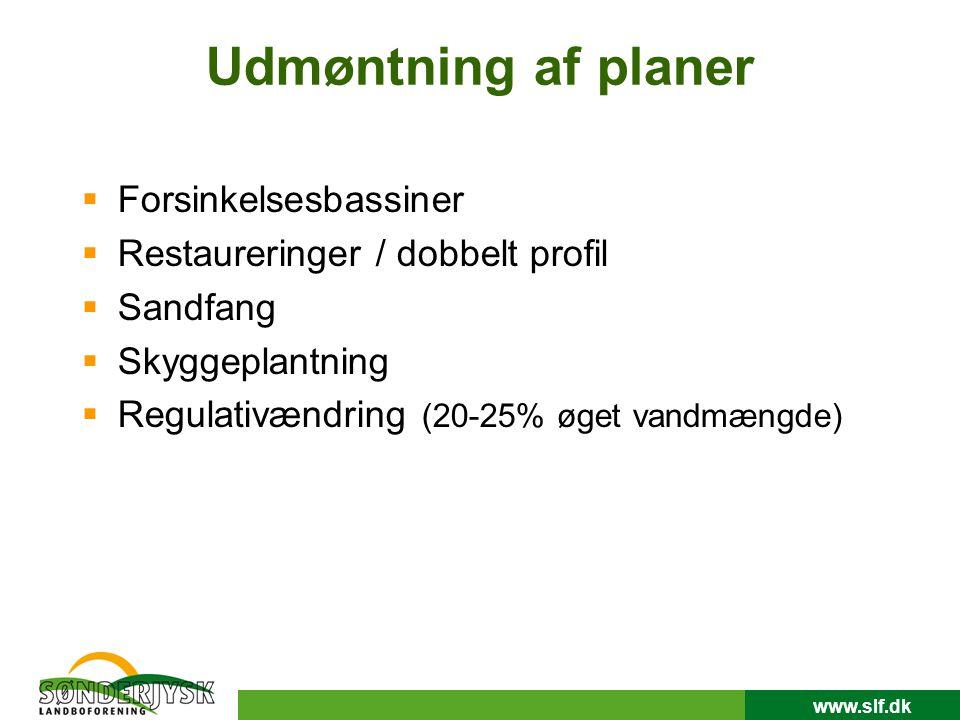 www.slf.dk Udmøntning af planer  Forsinkelsesbassiner  Restaureringer / dobbelt profil  Sandfang  Skyggeplantning  Regulativændring (20-25% øget vandmængde)