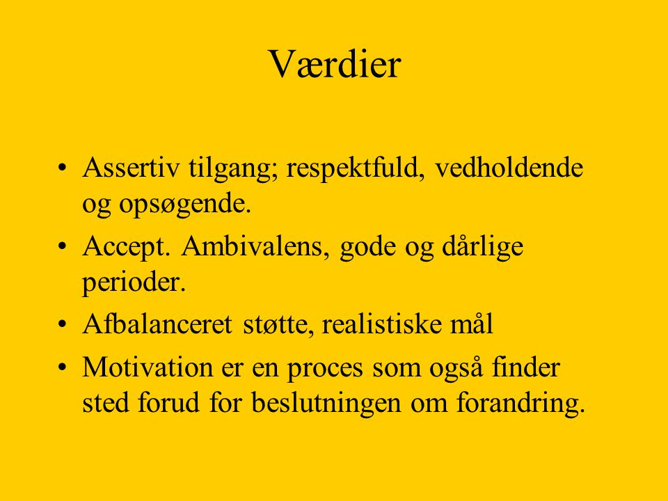 Værdier Assertiv tilgang; respektfuld, vedholdende og opsøgende.