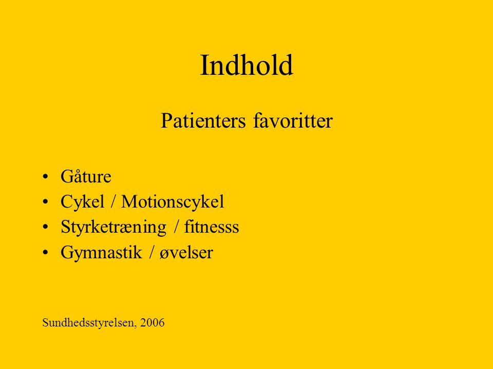 Indhold Patienters favoritter Gåture Cykel / Motionscykel Styrketræning / fitnesss Gymnastik / øvelser Sundhedsstyrelsen, 2006