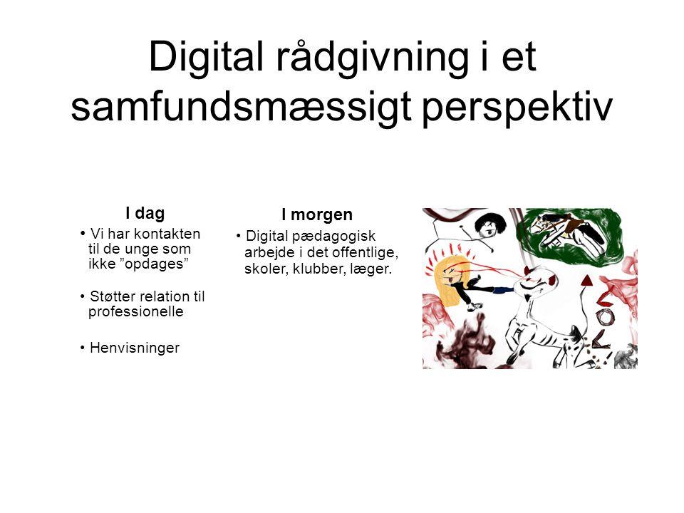 Digital rådgivning i et samfundsmæssigt perspektiv I dag Vi har kontakten til de unge som ikke opdages Støtter relation til professionelle Henvisninger I morgen Digital pædagogisk arbejde i det offentlige, skoler, klubber, læger.