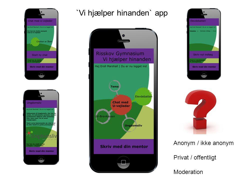 Anonym / ikke anonym Privat / offentligt Moderation `Vi hjælper hinanden` app