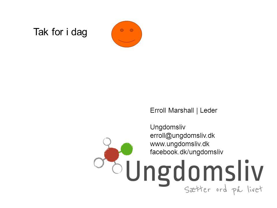 Tak for i dag Erroll Marshall | Leder Ungdomsliv erroll@ungdomsliv.dk www.ungdomsliv.dk facebook.dk/ungdomsliv