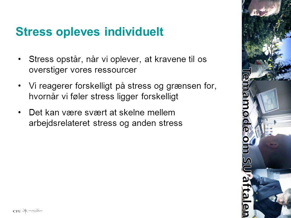 Stress opleves individuelt Stress opstår, når vi oplever, at kravene til os overstiger vores ressourcer Vi reagerer forskelligt på stress og grænsen for, hvornår vi føler stress ligger forskelligt Det kan være svært at skelne mellem arbejdsrelateret stress og anden stress