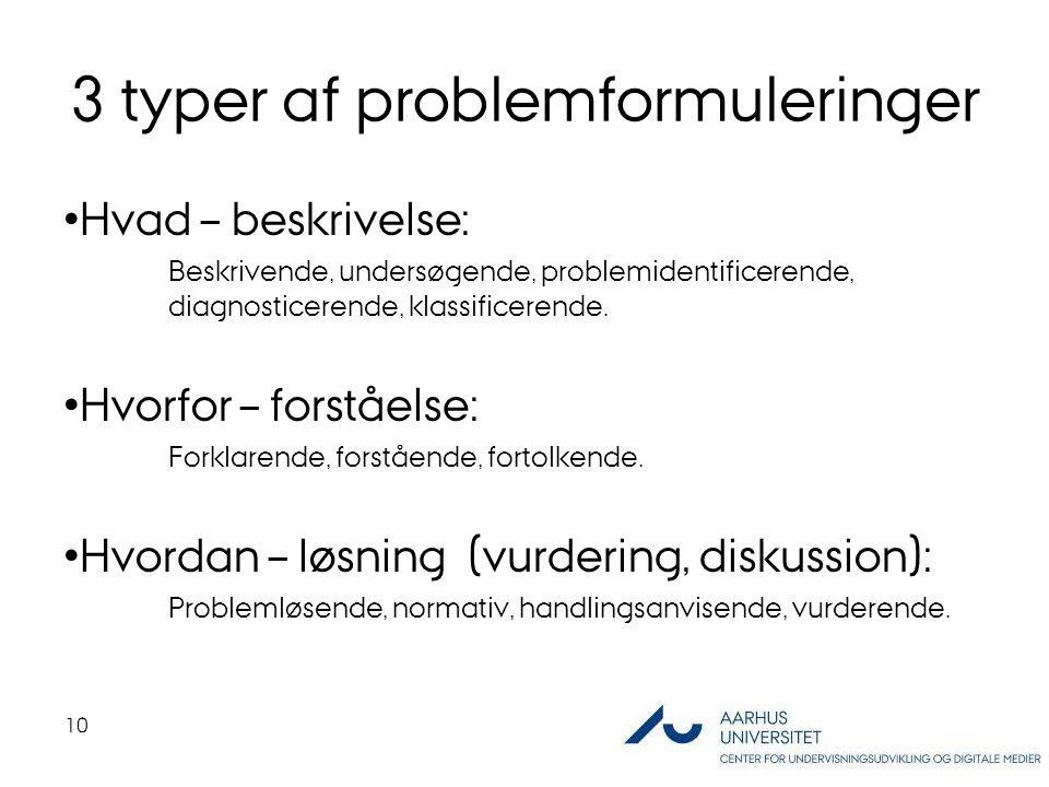 3 typer af problemformuleringer Hvad – beskrivelse: Beskrivende, undersøgende, problemidentificerende, diagnosticerende, klassificerende.
