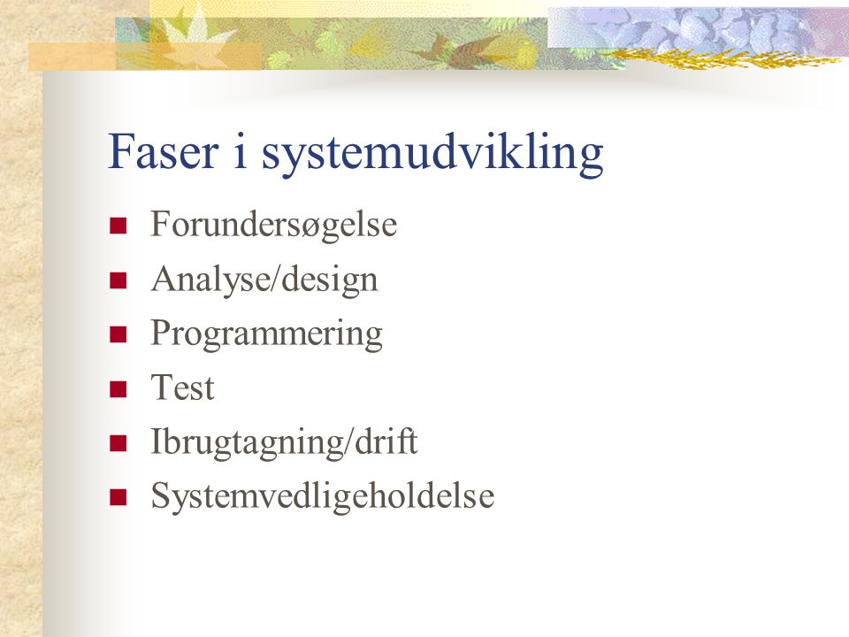 Faser i systemudvikling Forundersøgelse Analyse/design Programmering Test Ibrugtagning/drift Systemvedligeholdelse