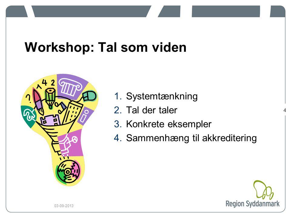 4 03-09-2013 Workshop: Tal som viden 1.Systemtænkning 2.Tal der taler 3.Konkrete eksempler 4.Sammenhæng til akkreditering