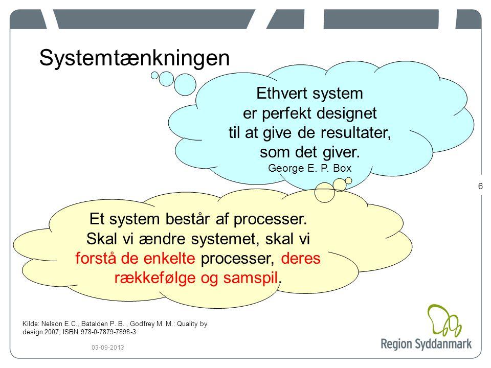 6 03-09-2013 Systemtænkningen Ethvert system er perfekt designet til at give de resultater, som det giver.