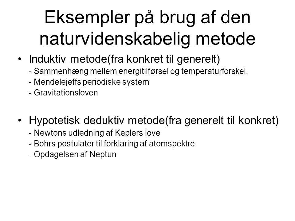 Eksempler på brug af den naturvidenskabelig metode Induktiv metode(fra konkret til generelt) - Sammenhæng mellem energitilførsel og temperaturforskel.