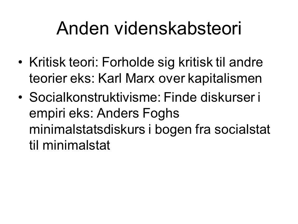 Anden videnskabsteori Kritisk teori: Forholde sig kritisk til andre teorier eks: Karl Marx over kapitalismen Socialkonstruktivisme: Finde diskurser i empiri eks: Anders Foghs minimalstatsdiskurs i bogen fra socialstat til minimalstat
