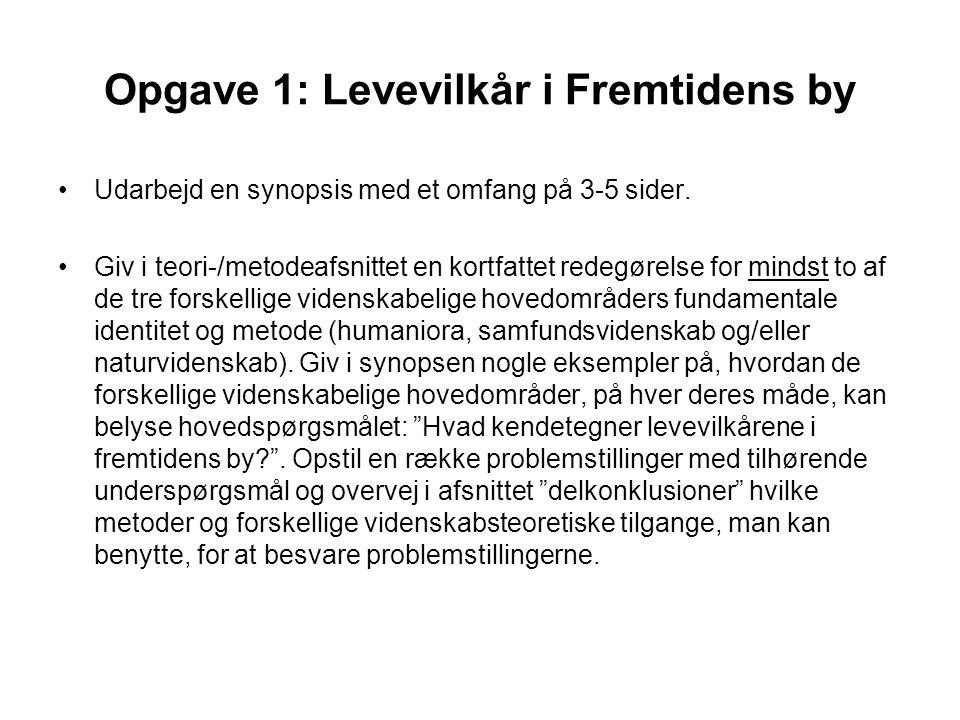 Opgave 1: Levevilkår i Fremtidens by Udarbejd en synopsis med et omfang på 3-5 sider.
