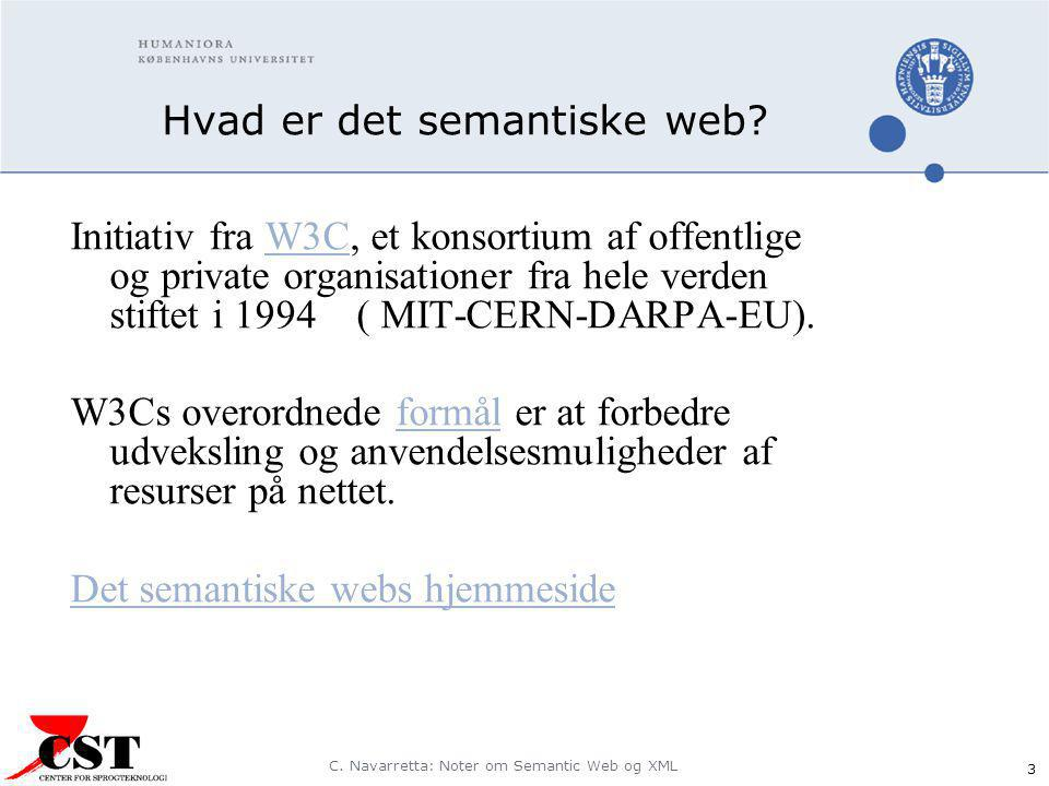 C. Navarretta: Noter om Semantic Web og XML 3 Hvad er det semantiske web.
