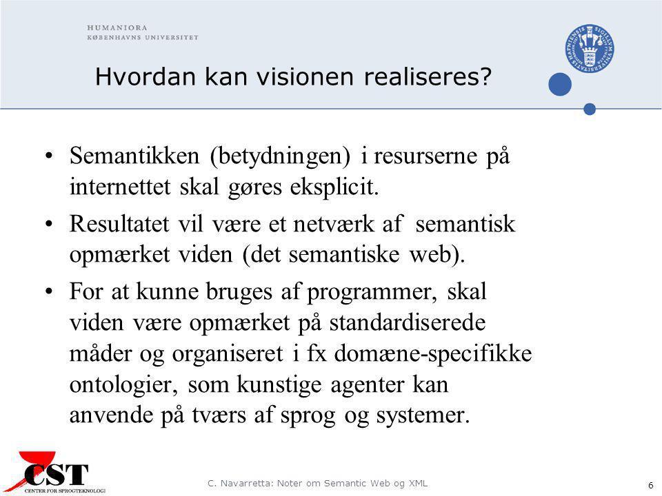 C. Navarretta: Noter om Semantic Web og XML 6 Hvordan kan visionen realiseres.