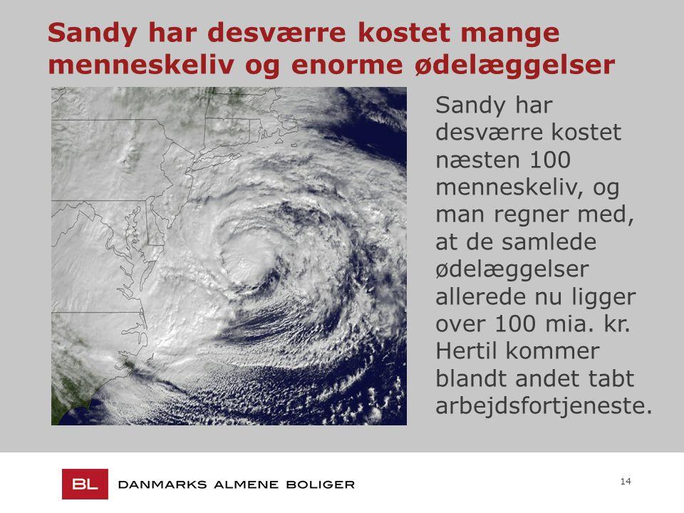 14 Sandy har desværre kostet mange menneskeliv og enorme ødelæggelser Sandy har desværre kostet næsten 100 menneskeliv, og man regner med, at de samlede ødelæggelser allerede nu ligger over 100 mia.