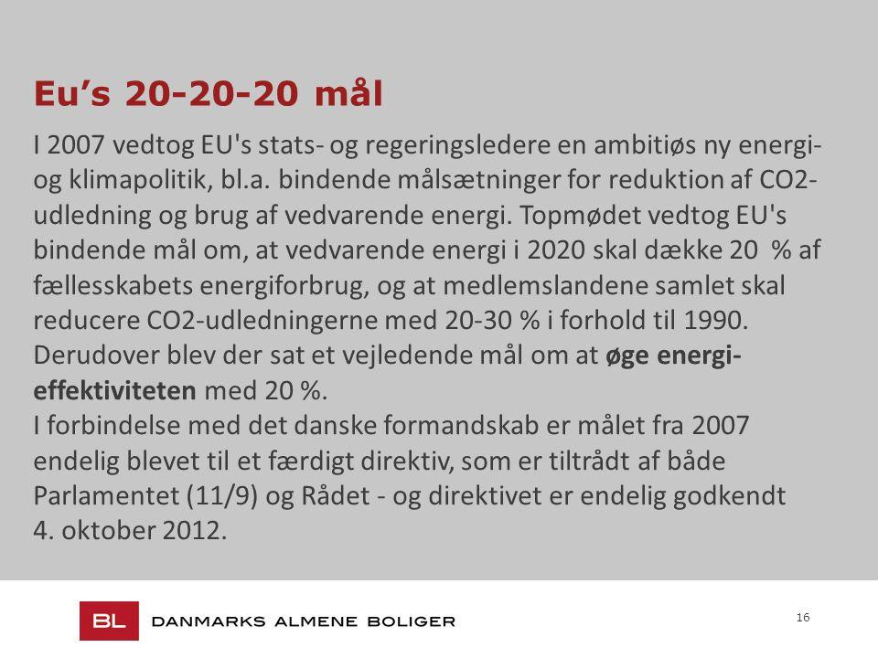 16 Eu's 20-20-20 mål I 2007 vedtog EU s stats- og regeringsledere en ambitiøs ny energi- og klimapolitik, bl.a.