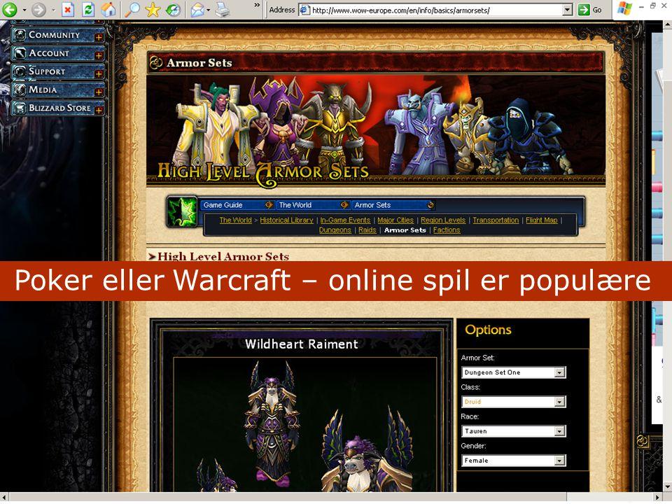 Poker eller Warcraft – online spil er populære