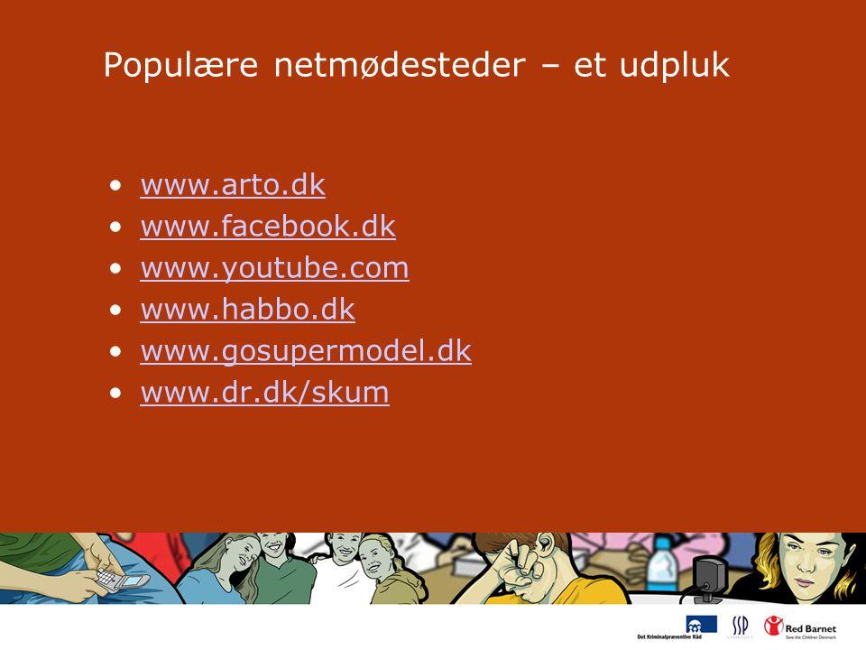 Populære netmødesteder – et udpluk www.arto.dk www.facebook.dk www.youtube.com www.habbo.dk www.gosupermodel.dk www.dr.dk/skum