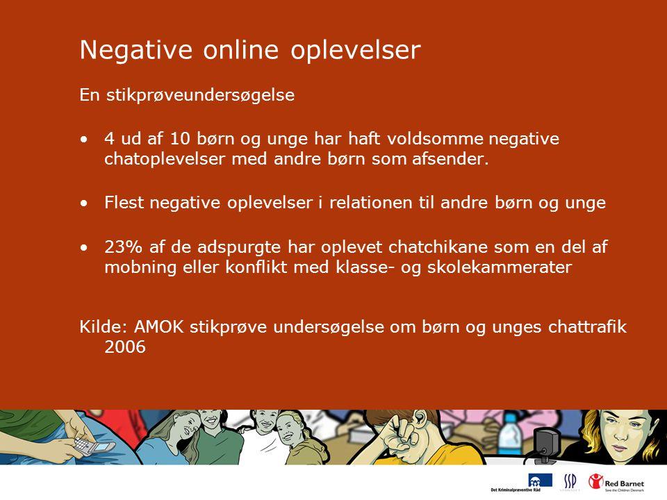 Negative online oplevelser En stikprøveundersøgelse 4 ud af 10 børn og unge har haft voldsomme negative chatoplevelser med andre børn som afsender.