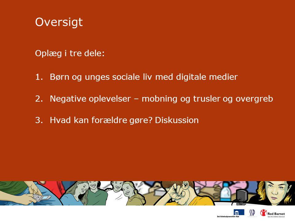 Oversigt Oplæg i tre dele: 1.Børn og unges sociale liv med digitale medier 2.Negative oplevelser – mobning og trusler og overgreb 3.Hvad kan forældre gøre.