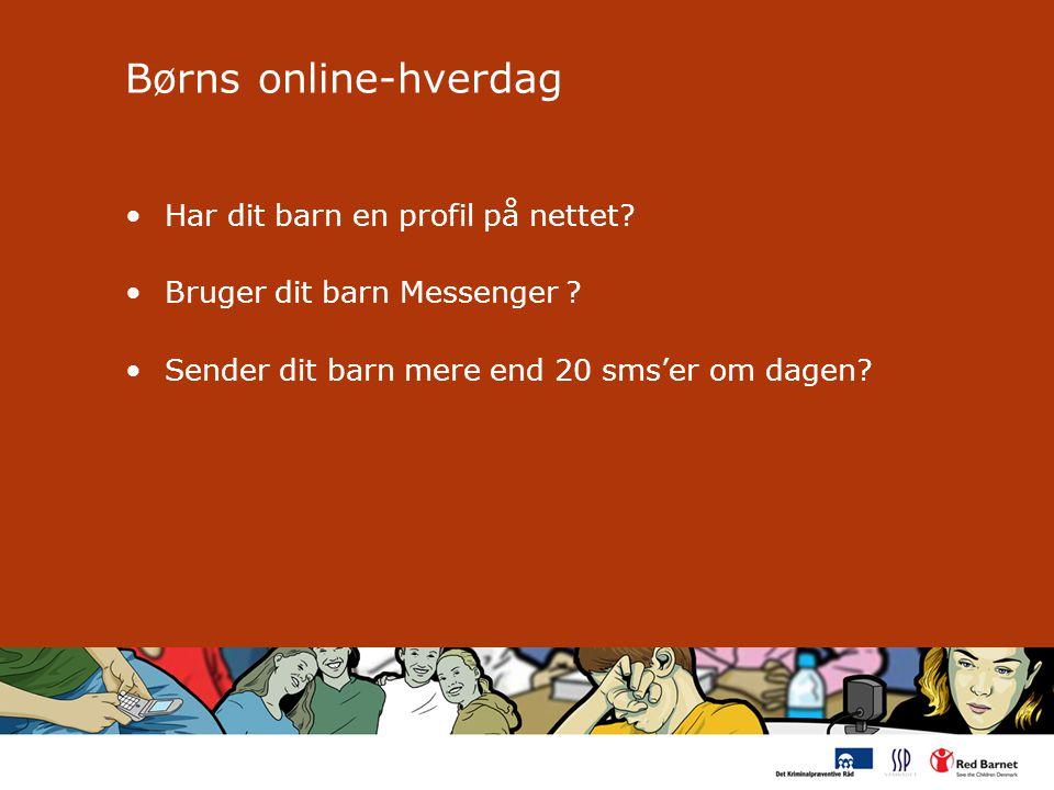 Børns online-hverdag Har dit barn en profil på nettet.