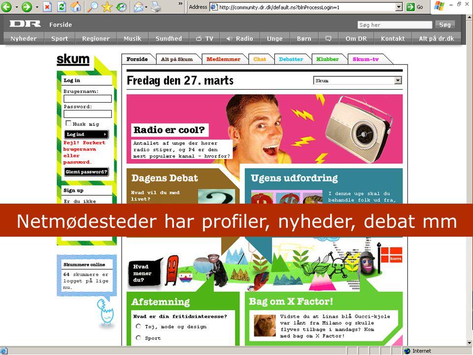 Netmødesteder har profiler, nyheder, debat mm