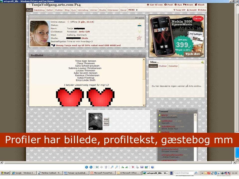 Profiler har billede, profiltekst, gæstebog mm
