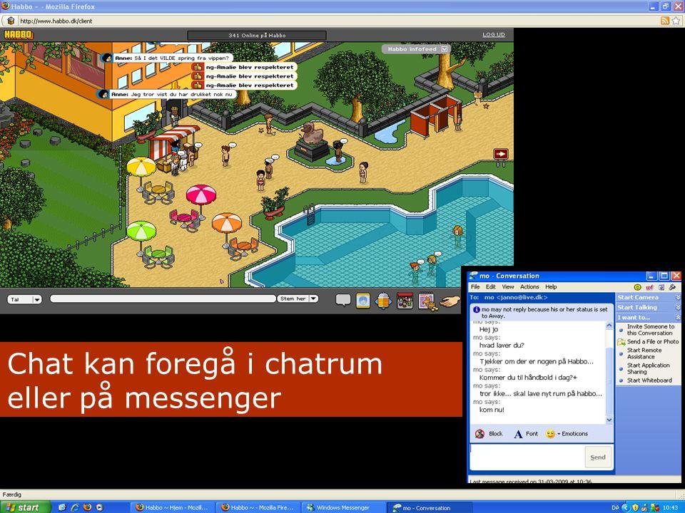 Messenger-eksempel Chat kan foregå i chatrum eller på messenger