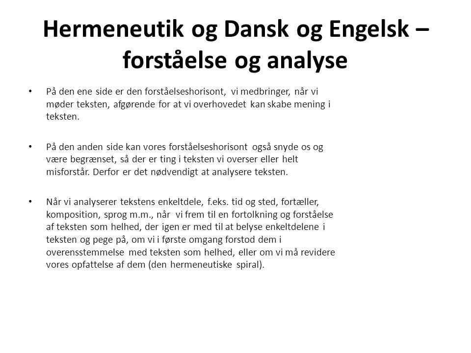 Hermeneutik og Dansk og Engelsk – forståelse og analyse På den ene side er den forståelseshorisont, vi medbringer, når vi møder teksten, afgørende for at vi overhovedet kan skabe mening i teksten.