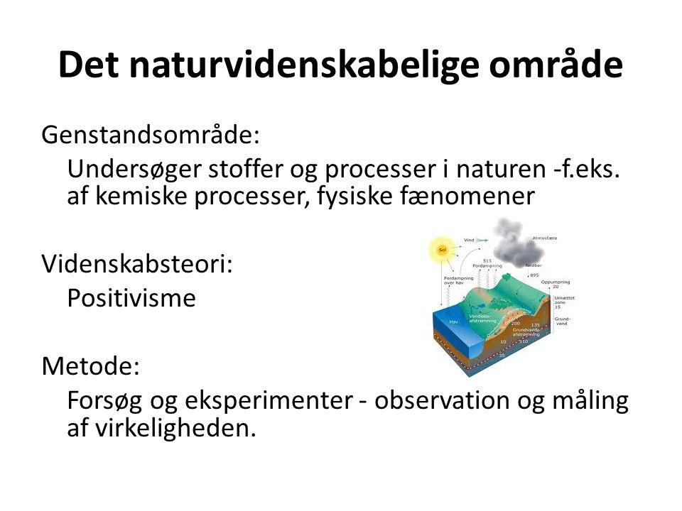 Det naturvidenskabelige område Genstandsområde: Undersøger stoffer og processer i naturen -f.eks.