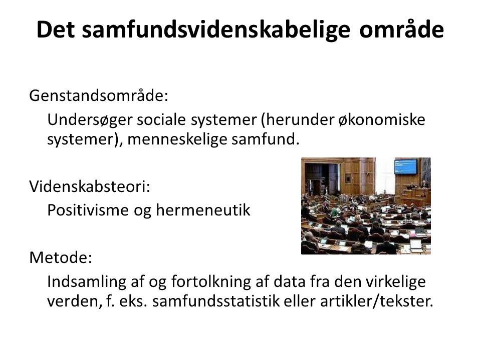 Det samfundsvidenskabelige område Genstandsområde: Undersøger sociale systemer (herunder økonomiske systemer), menneskelige samfund.