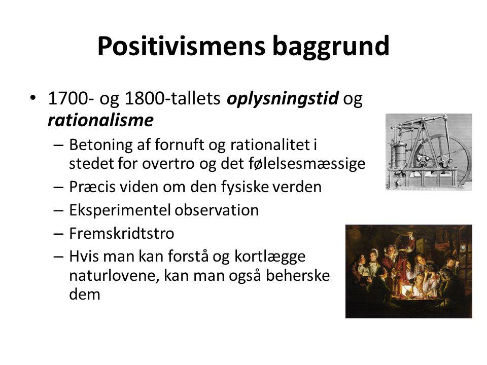 Positivisme (1) Undersøger naturen via eksperimenter (søger at forklare).