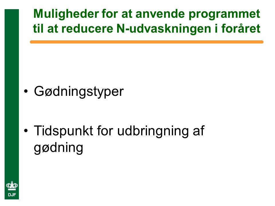DJF Muligheder for at anvende programmet til at reducere N-udvaskningen i foråret Gødningstyper Tidspunkt for udbringning af gødning