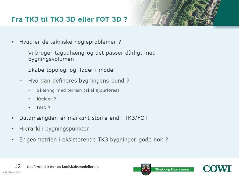 Geoforum 3D By- og landskabsmodellering 12 29.09.2005 Fra TK3 til TK3 3D eller FOT 3D .