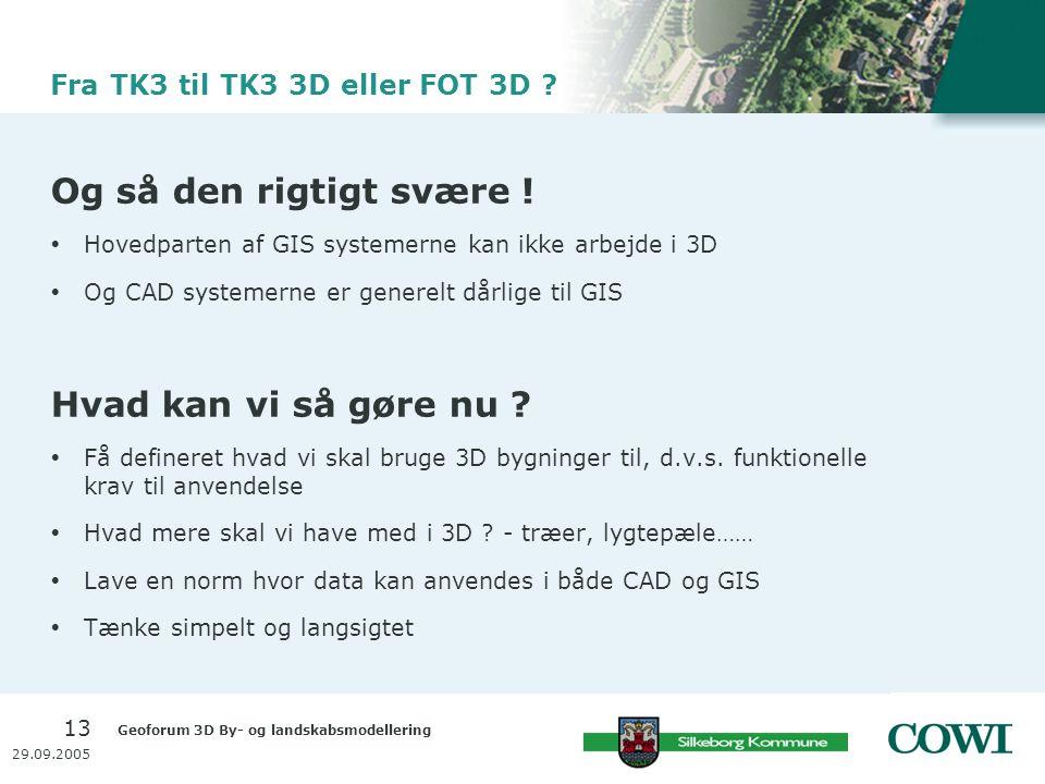 Geoforum 3D By- og landskabsmodellering 13 29.09.2005 Fra TK3 til TK3 3D eller FOT 3D .