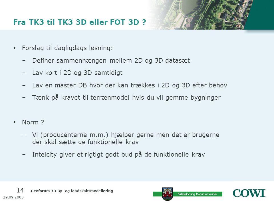 Geoforum 3D By- og landskabsmodellering 14 29.09.2005 Fra TK3 til TK3 3D eller FOT 3D .