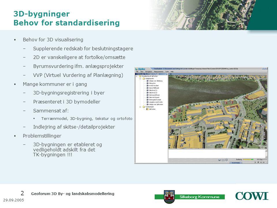 Geoforum 3D By- og landskabsmodellering 2 29.09.2005 3D-bygninger Behov for standardisering  Behov for 3D visualisering –Supplerende redskab for beslutningstagere –2D er vanskeligere at fortolke/omsætte –Byrumsvurdering ifm.