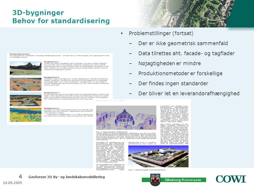 Geoforum 3D By- og landskabsmodellering 4 29.09.2005 3D-bygninger Behov for standardisering  Problemstillinger (fortsat) –Der er ikke geometrisk sammenfald –Data tilrettes aht.