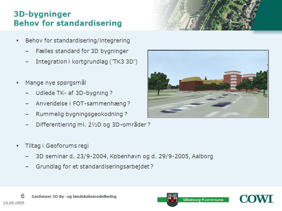 Geoforum 3D By- og landskabsmodellering 6 29.09.2005 3D-bygninger Behov for standardisering  Behov for standardisering/integrering –Fælles standard for 3D bygninger –Integration i kortgrundlag ('TK3 3D')  Mange nye spørgsmål –Udlede TK- af 3D-bygning .