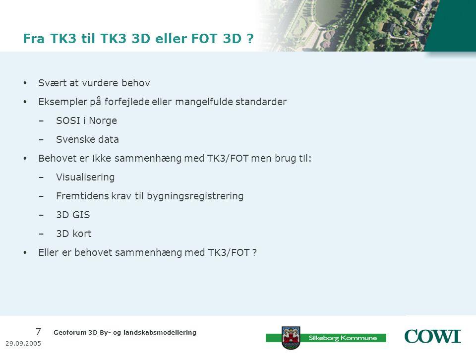 Geoforum 3D By- og landskabsmodellering 7 29.09.2005 Fra TK3 til TK3 3D eller FOT 3D .