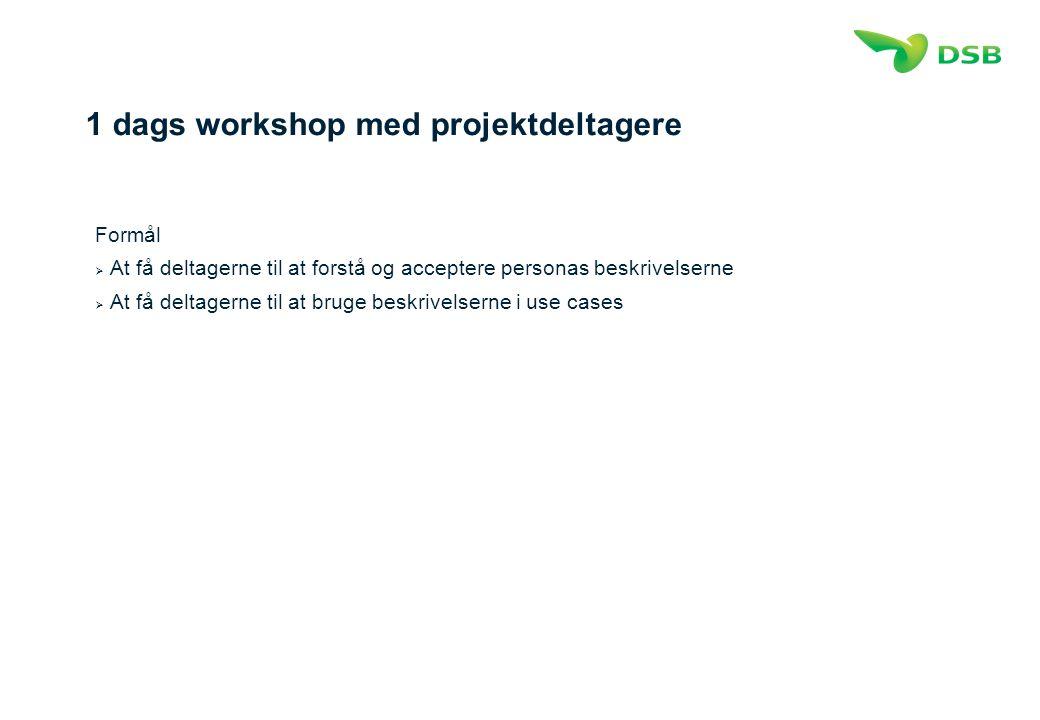 1 dags workshop med projektdeltagere Formål  At få deltagerne til at forstå og acceptere personas beskrivelserne  At få deltagerne til at bruge beskrivelserne i use cases