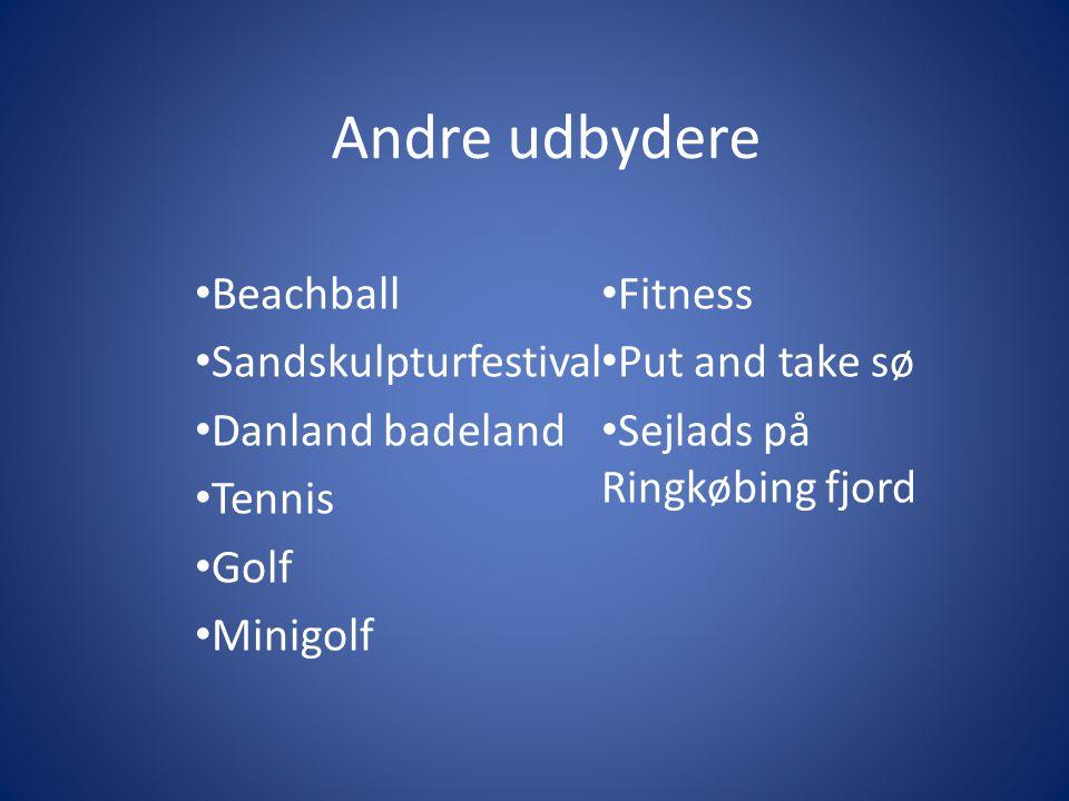 Andre udbydere Beachball Sandskulpturfestival Danland badeland Tennis Golf Minigolf Fitness Put and take sø Sejlads på Ringkøbing fjord