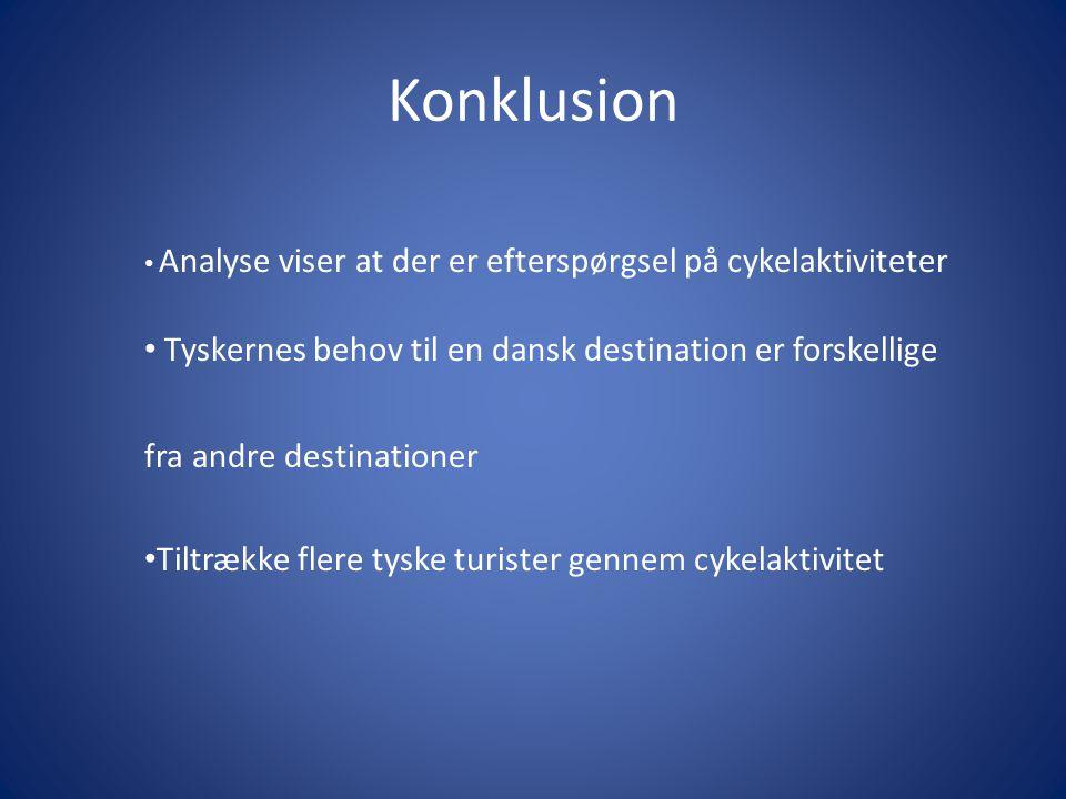 Konklusion Analyse viser at der er efterspørgsel på cykelaktiviteter Tyskernes behov til en dansk destination er forskellige fra andre destinationer Tiltrække flere tyske turister gennem cykelaktivitet