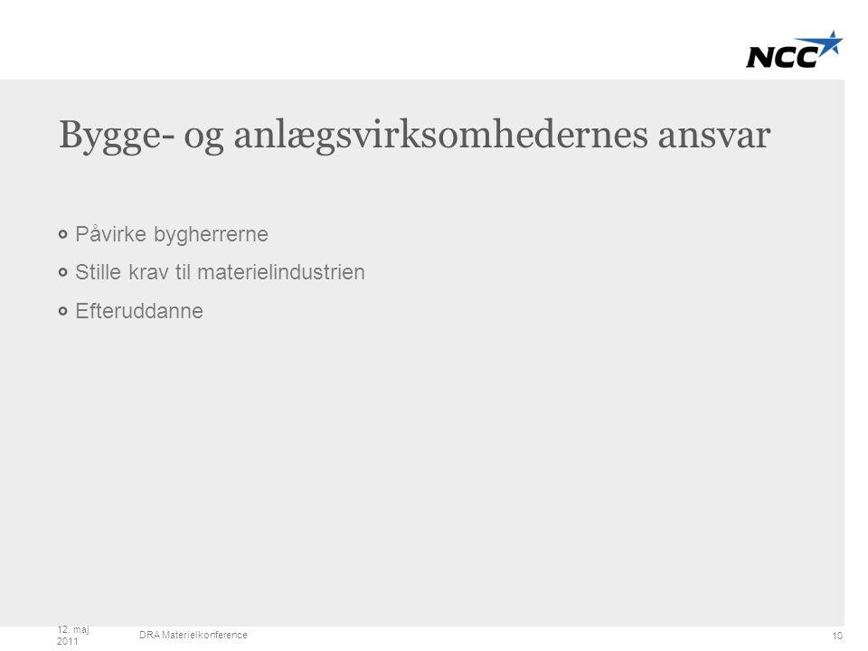 Title and content Bygge- og anlægsvirksomhedernes ansvar Påvirke bygherrerne Stille krav til materielindustrien Efteruddanne 10 12.